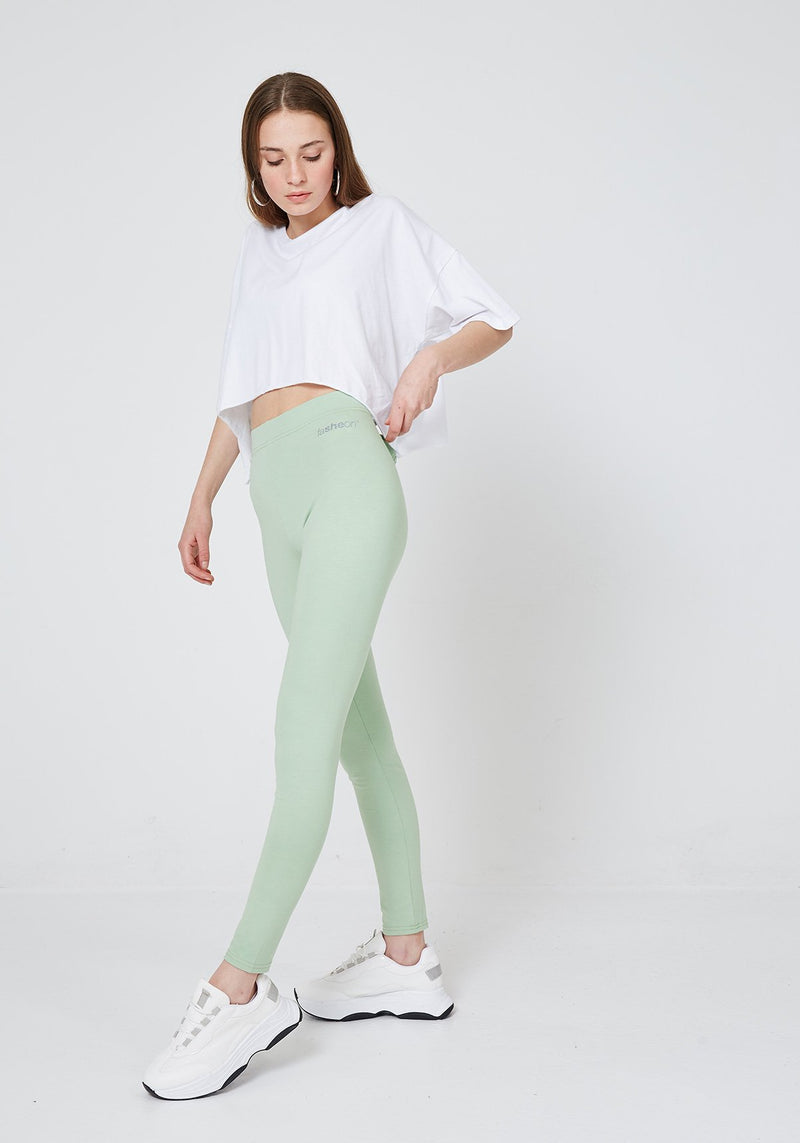 2 Pack - Green Classic High Waisted Slogan Leggings