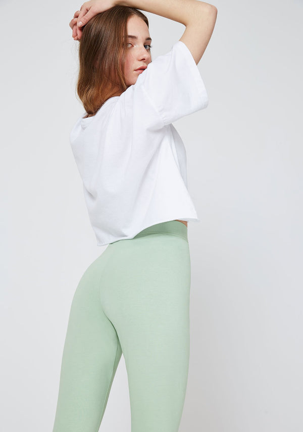 Back Detail of Green Classic High Waisted Slogan Leggings