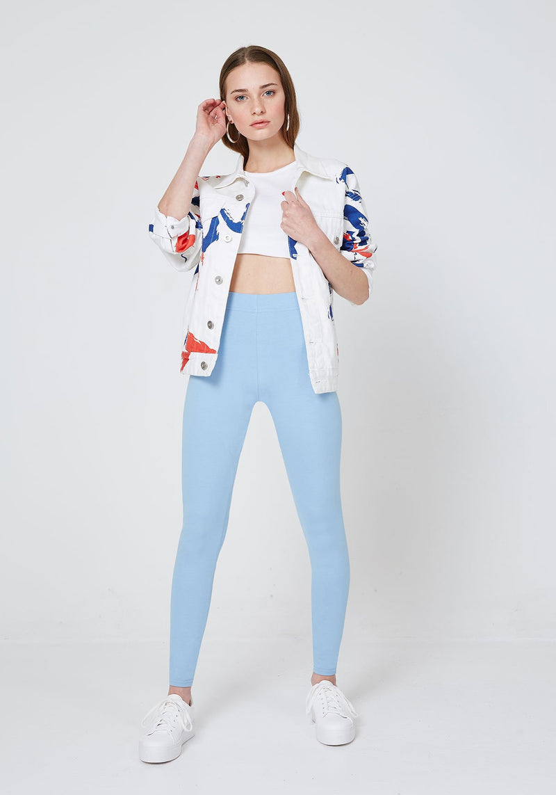 Front Look of Blue Basic High Waisted Slogan Leggings