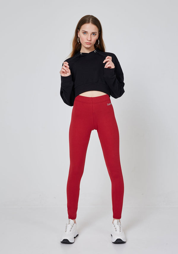 Front Look of Red Classic High Waisted Slogan Leggings for Women