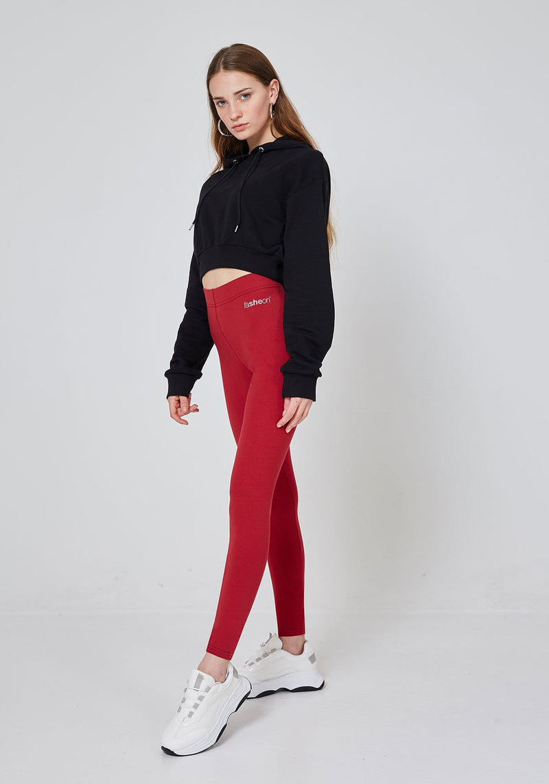 Side Look of Red Classic High Waisted Slogan Leggings