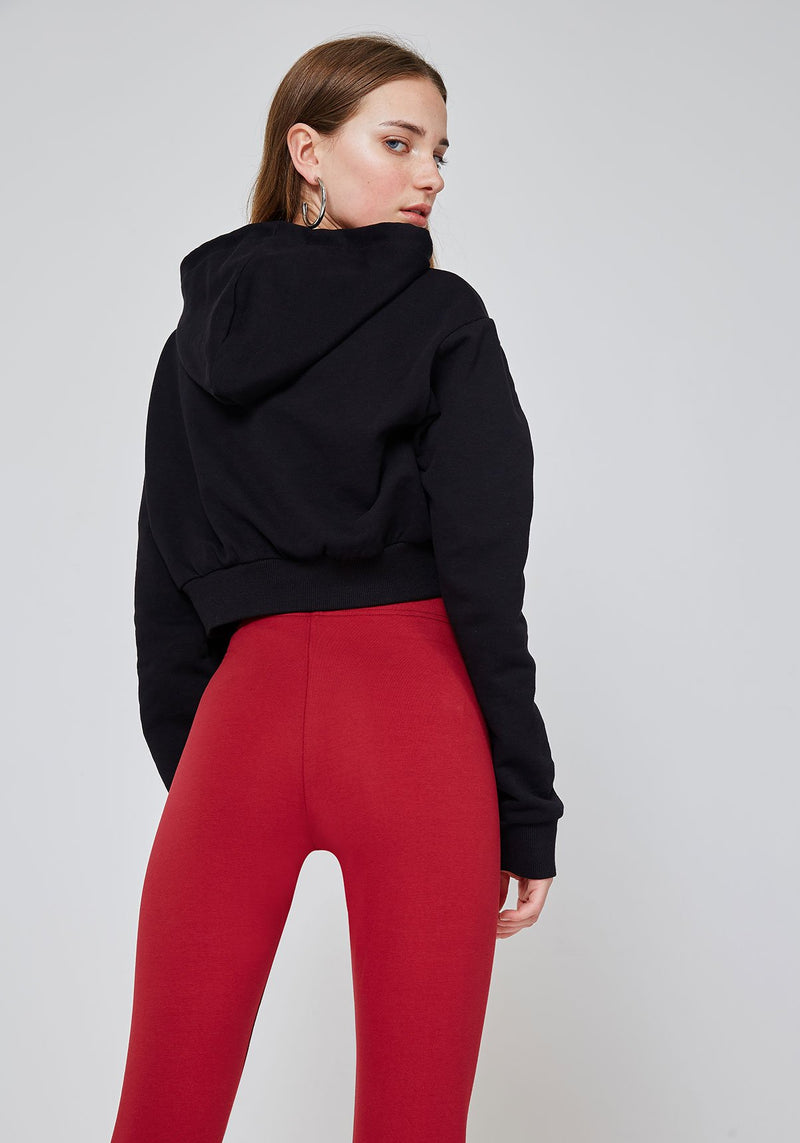 Back Detail of Red Classic High Waisted Slogan Leggings