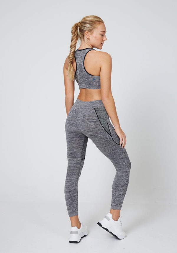 Back Look of Grey Seamless Co-ord Leggings & Bra