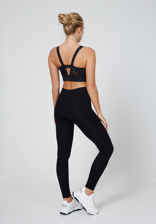 Black Classic High Waisted Slogan Sports Leggings