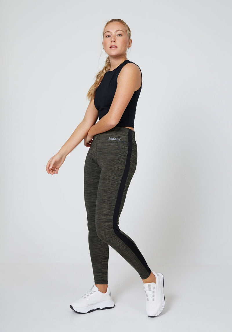 Side Look of Khaki-Black Side Stripe Leggings