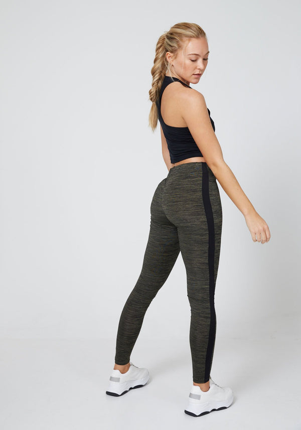 Khaki - Black Side Stripe Gym Leggings