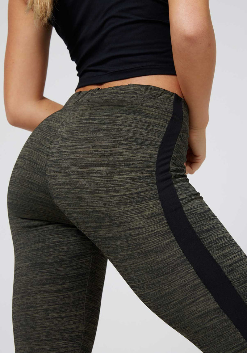 2 Pack - Khaki Black Side Stripe Gym Leggings