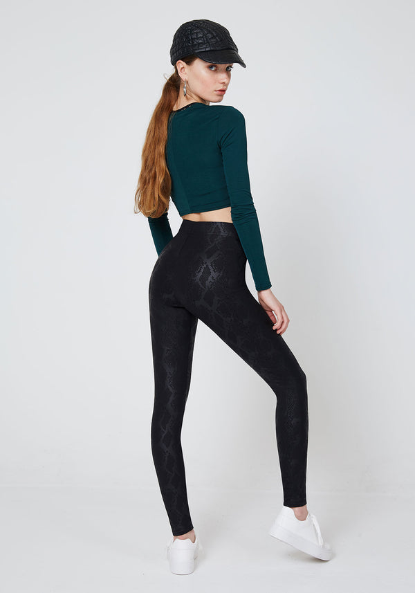 fasheon Black Glossy Snake Print Leggings