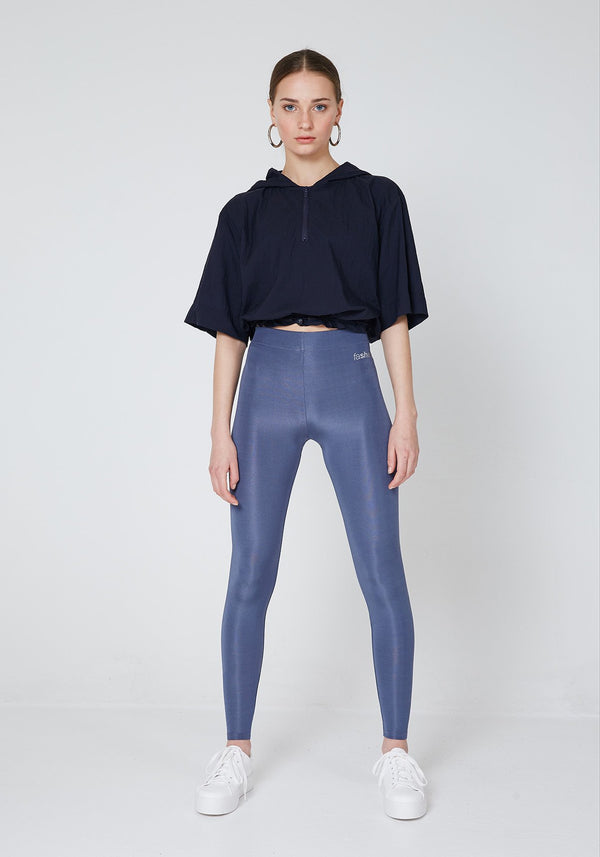 Front Look of Steel Grey Shiny High Waisted Sports Leggings