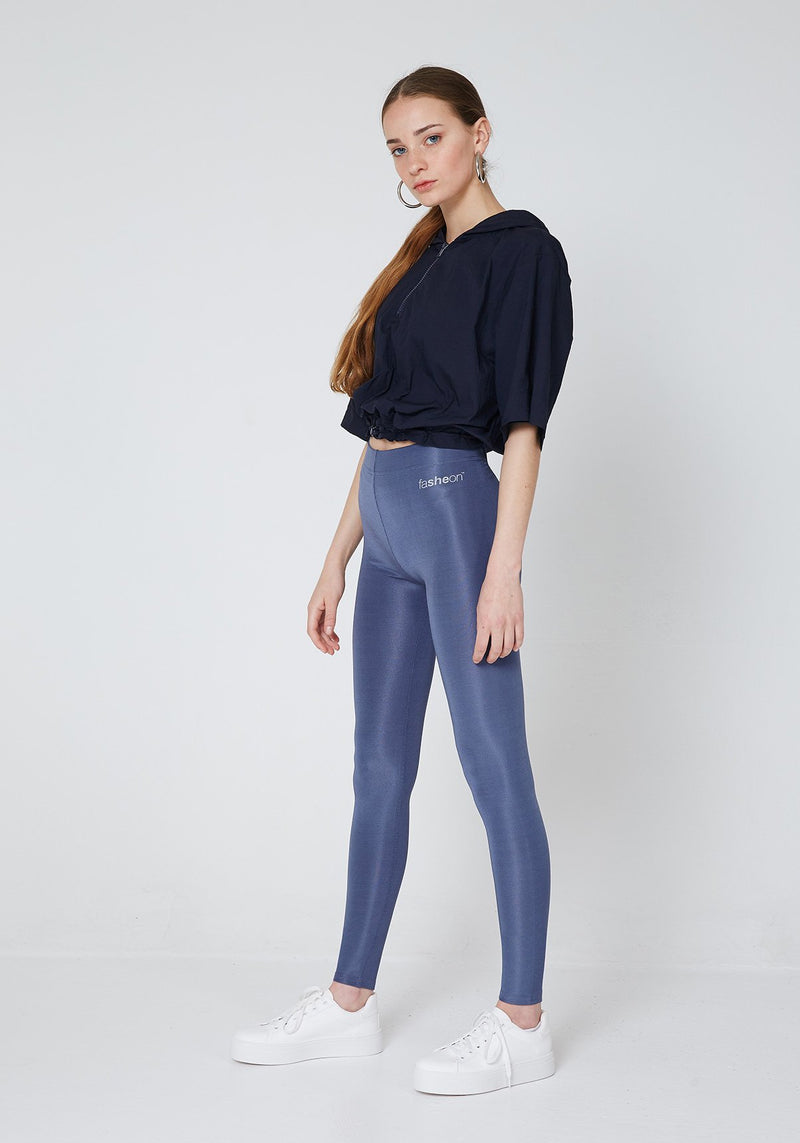 Side Look of Steel Grey Shiny High Waisted Sports Leggings