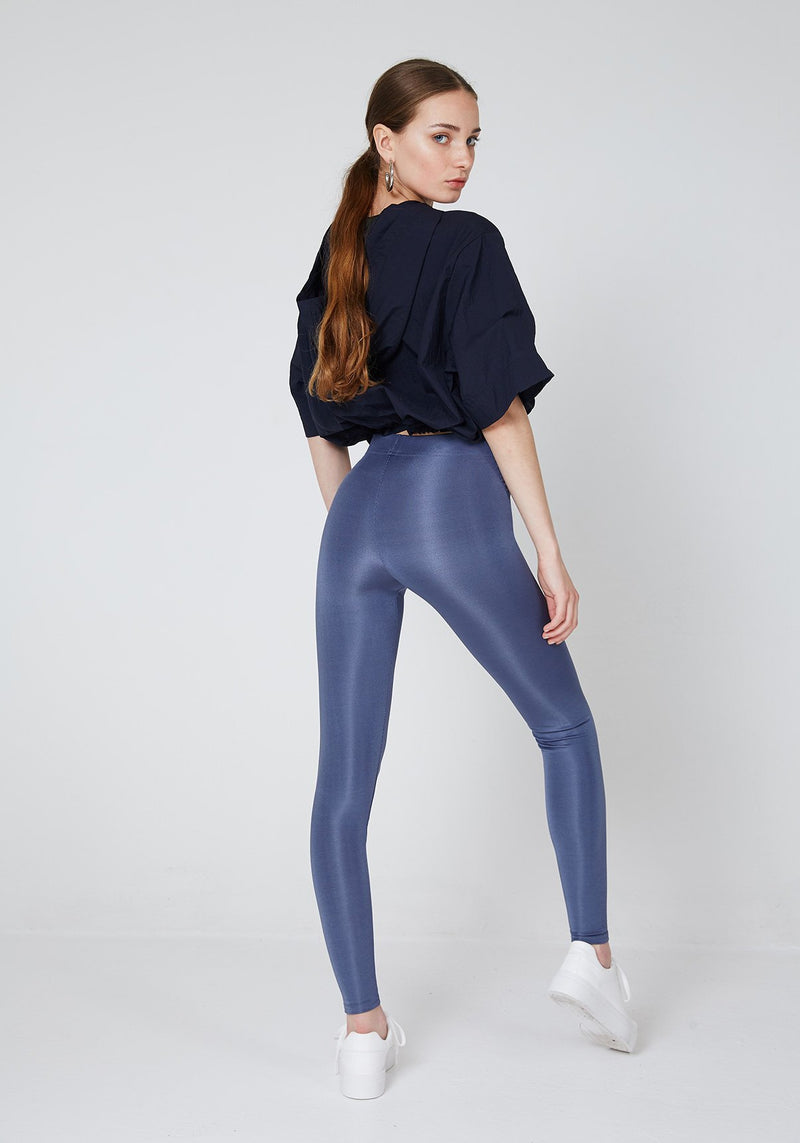 Back Look of Steel Grey Shiny High Waisted Sports Leggings