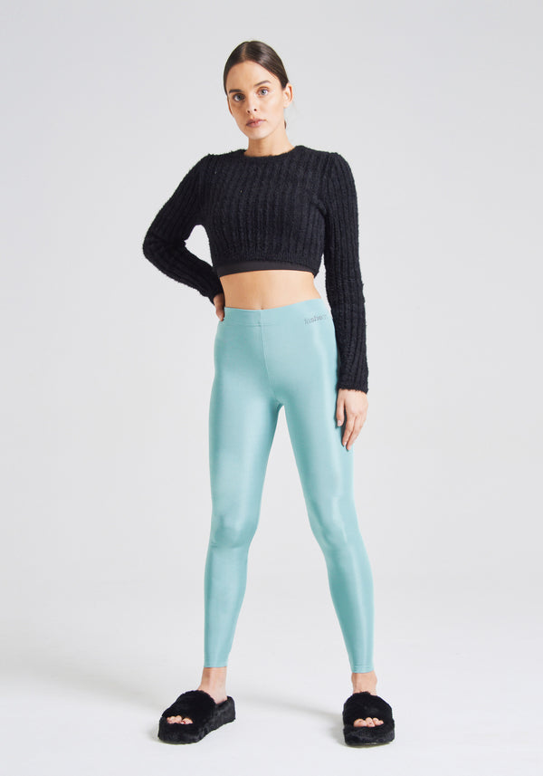 fasheon Green Shiny High Waisted Leggings