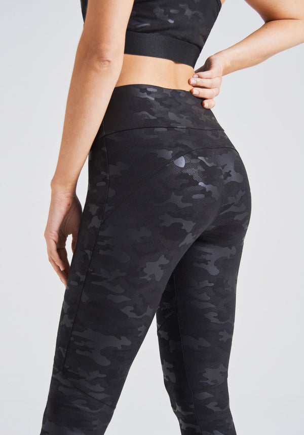 fasheon Black High Waisted Camo Gym Leggings