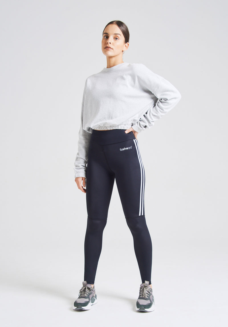 fasheon Black High Waisted Double Side Stripe Gym Leggings
