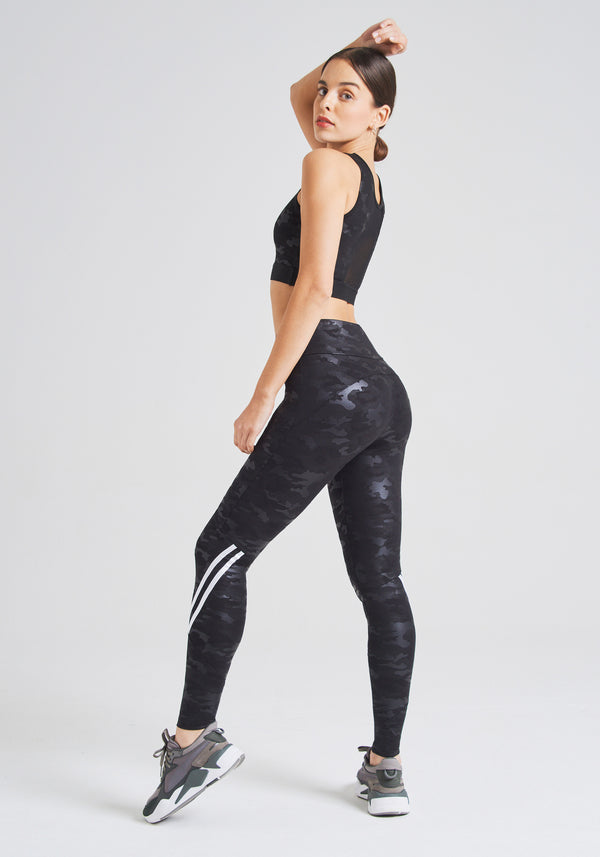 fasheon Black High Waisted Camo Stripe Gym Leggings