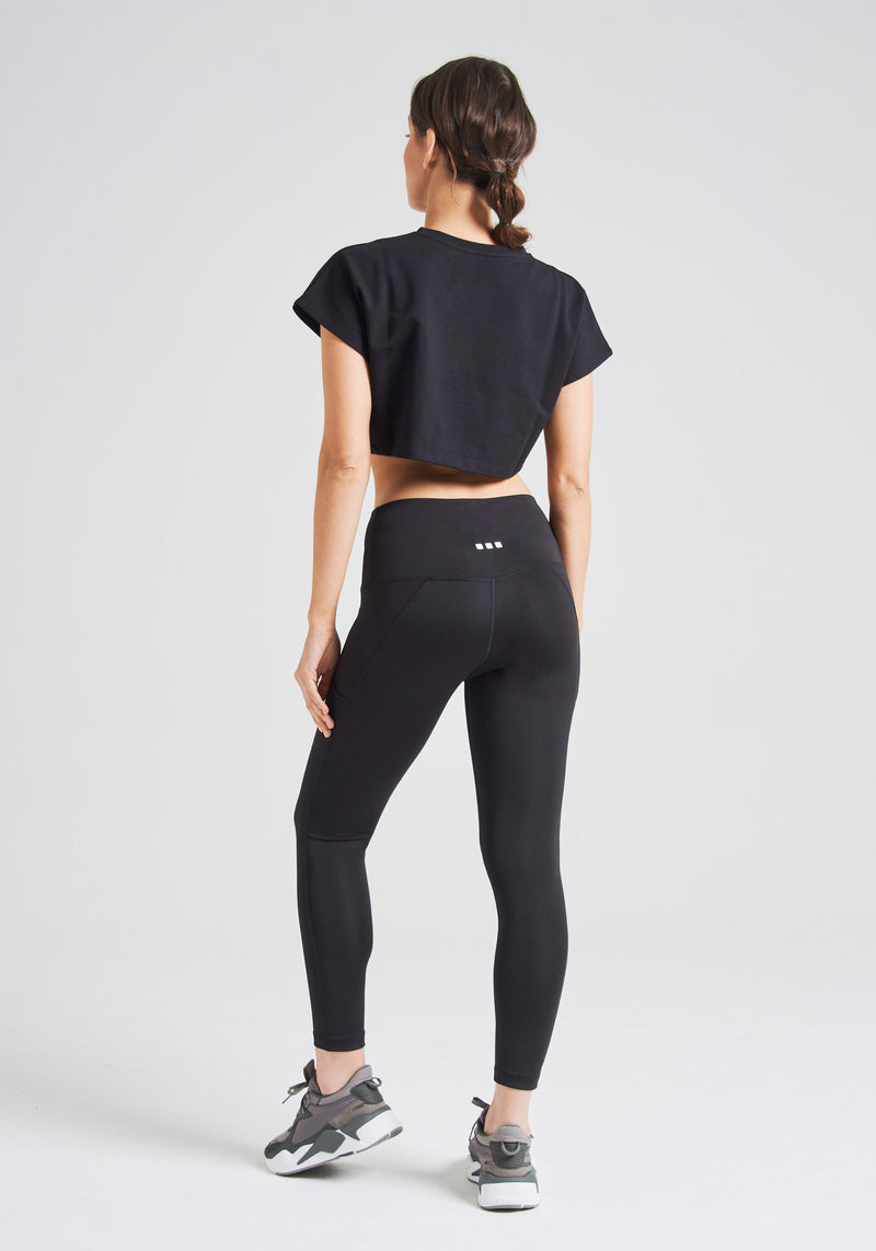 fasheon Black Double Side Pocket High Waisted Leggings
