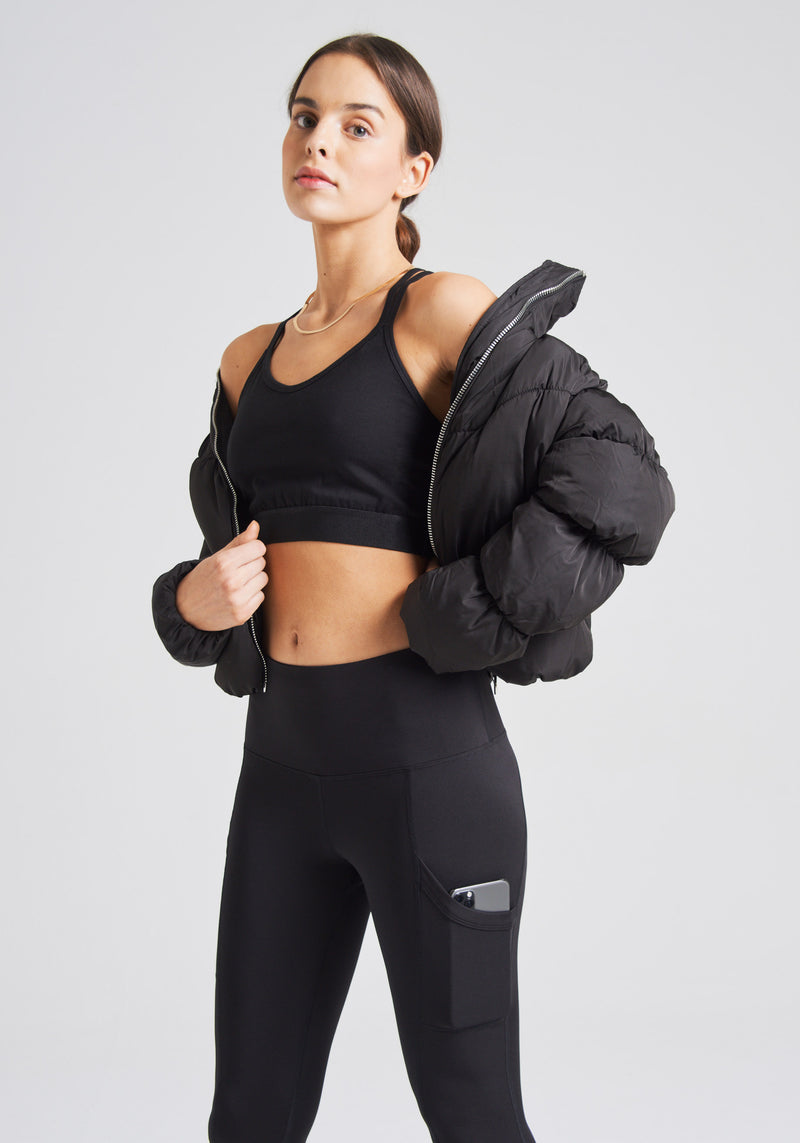 fasheon Black Racerback Sports Bra