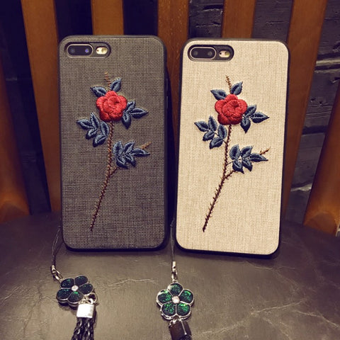 check out 603ca 5f5d9 Embroidered Rose iPhone Case -