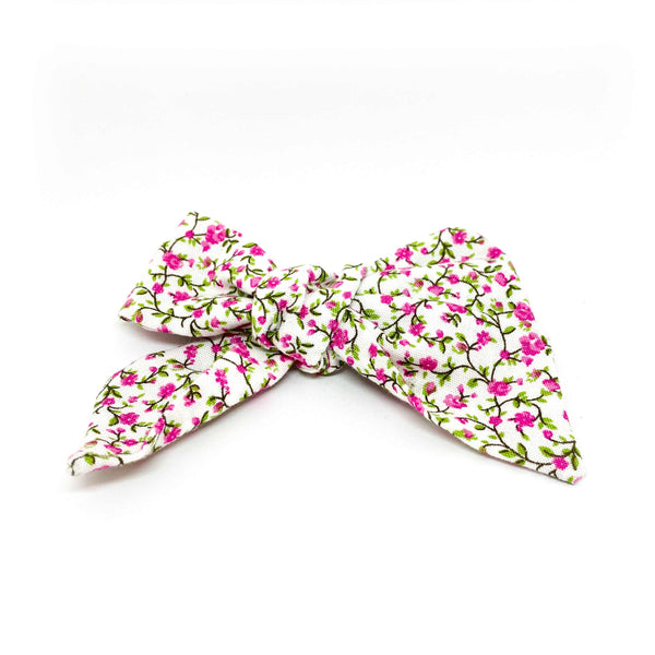 Fabric fashion bow blanco con rosa de MOÑERIAS
