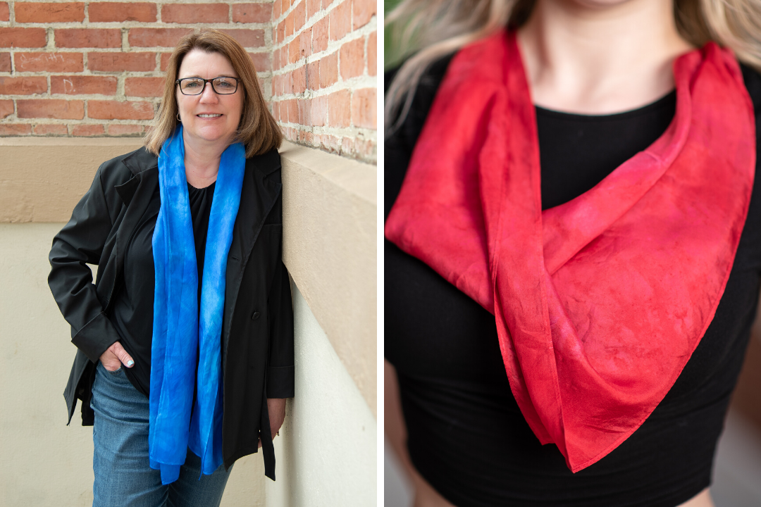 Image collage: white woman wearing long blue silk scarf, close up of white woman wearing red bandana tied around neck