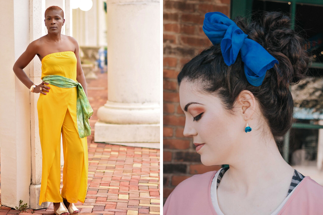 Image collage: Black woman wearing silk scarf tied around waist, white woman with hair tied in a bun with silk scarf