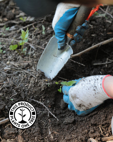 close up of light skinned person wearing gardening gloves and diggin in dark dirt with hand trowel, with logo of One Tree Planted in the bottom left corner