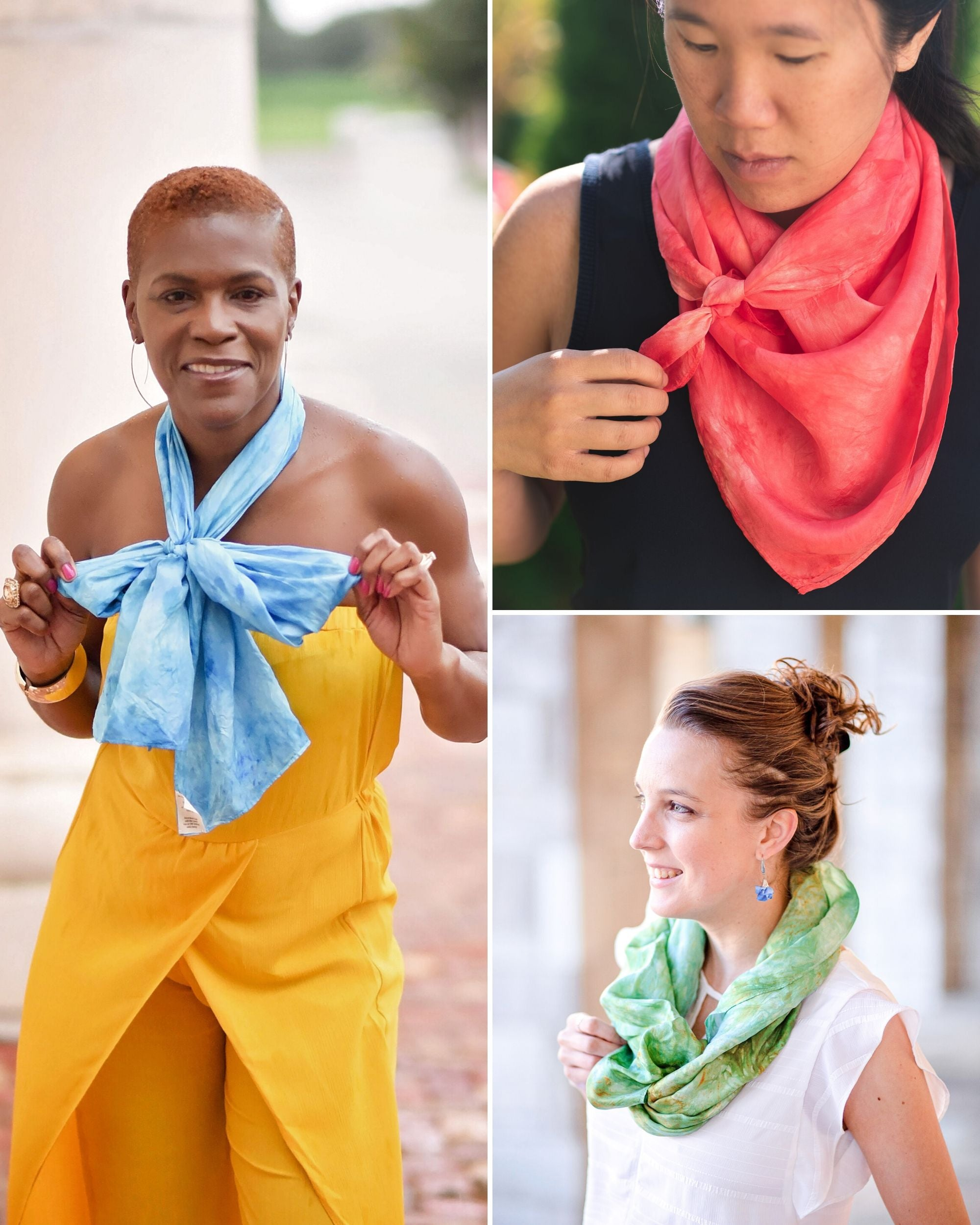 Image collage: Black woman wearing turquoise silk scarf tied in a bow around her neck, Asian woman wearing large square scarf tied around neck bandana style, white woman with long scarf tied in loop around neck
