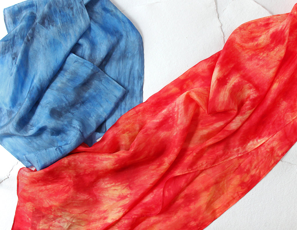blue silk scarf and red silk scarf