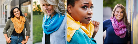 collage of photos - women wearing silk or knit scarves