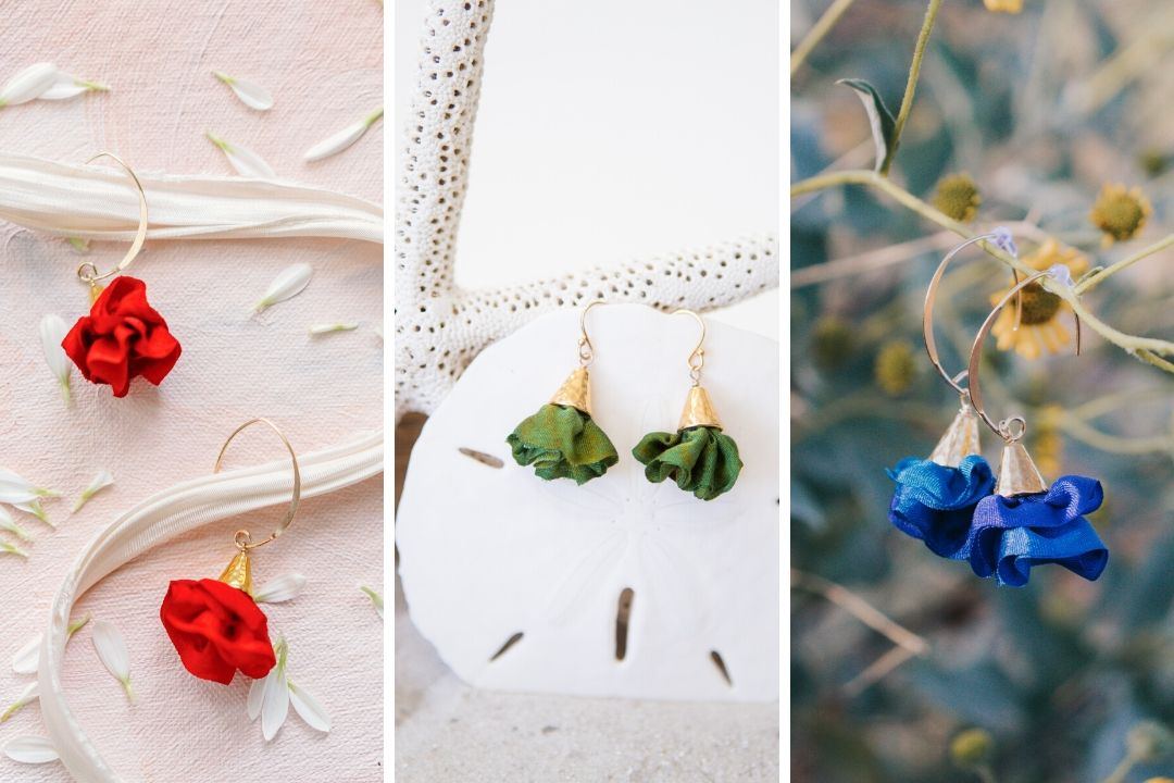 Image collage: close ups of three pairs of drop earrings: large gold with red ruffles, small gold with green ruffles, large blue with gold ruffles