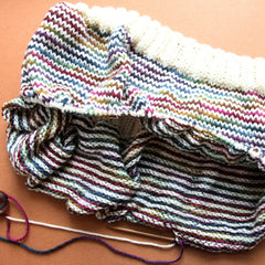 hand knit striped cowl in progress