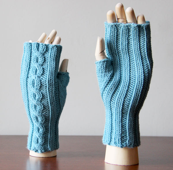 Last Chance Cable Mitts - Light Blue