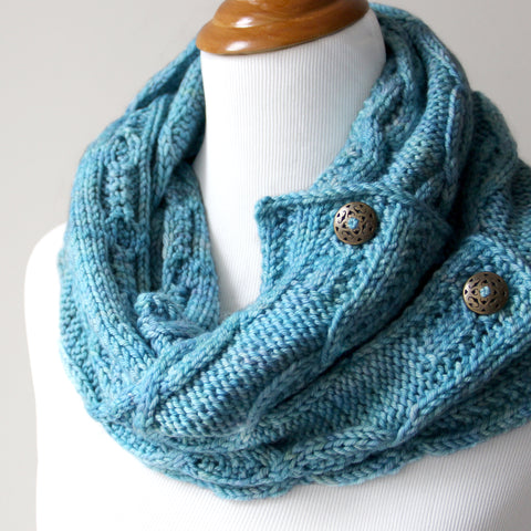 Last Chance Button Cowl - Sky Blue