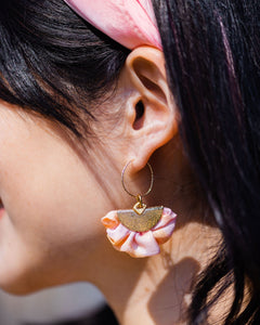 Silk Lily Hoop Earrings - Spring Colors