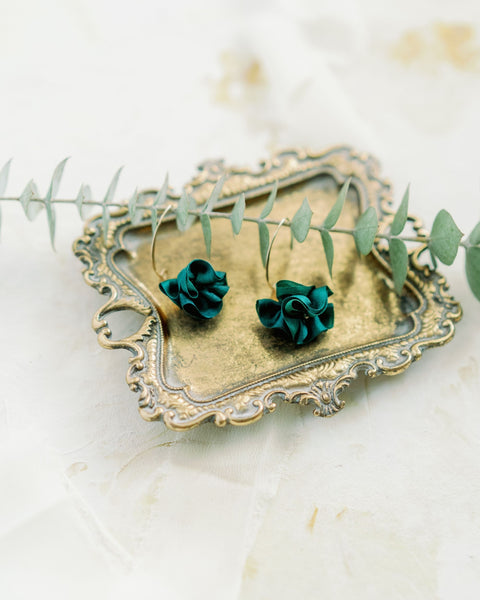 Silk Bloom Earrings - Gold Double Bloom - Evergreen
