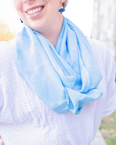 Sky Blue Silk Scarf - Dyed to Order