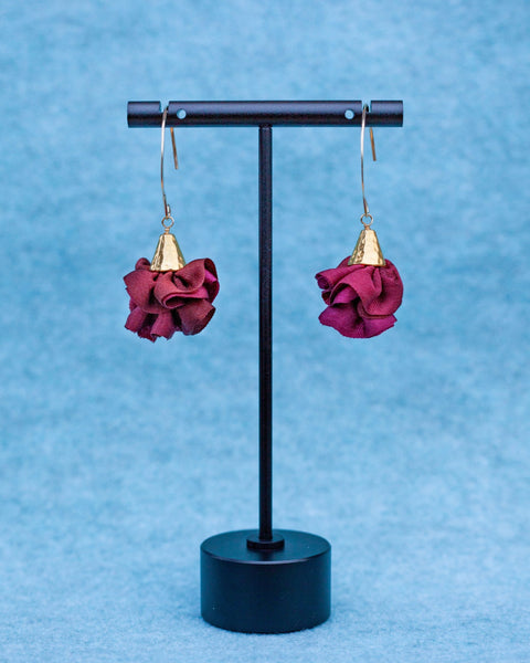 Silk Bloom Earrings - Gold Double Bloom - Fall Colors