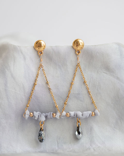 Silk Scrunch Trapeze Earrings - Winter Colors