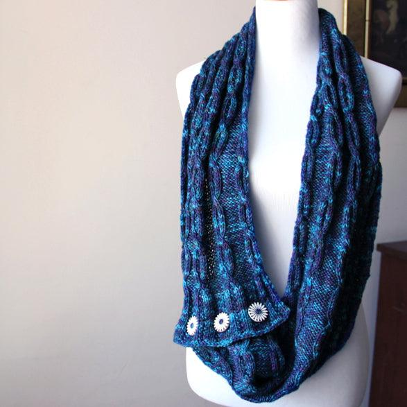 Last Chance Button Cowl - Ocean Blue
