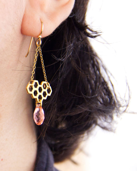 Honeycomb Earrings - Spring Colors
