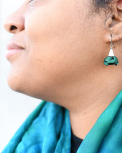 Silk Bloom Earrings - Stainless Steel Single Bloom - Evergreen