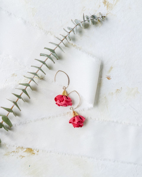 Silk Bloom Earrings - Gold Double Bloom - Fuchsia
