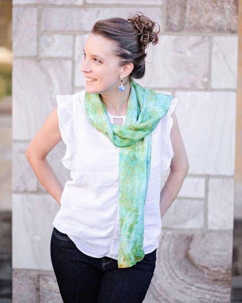 Olive Green Silk Scarf