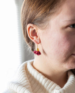 Silk Bloom Earrings - Gold Single Bloom - Fall Colors