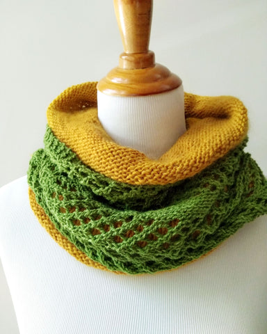 Chevron  &  Fluff Cowl Set - Moss Green & Gold - Knit to Order