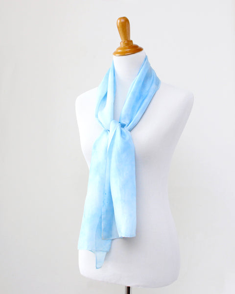 Sky Blue Silk Scarf - Dye to Order