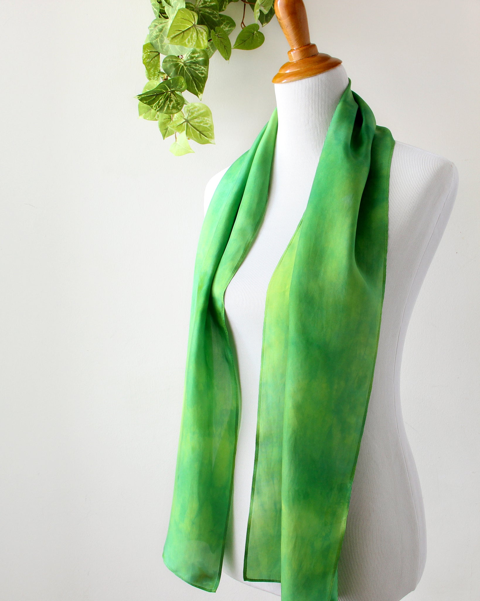 Last Chance - Leaf Green Silk Scarf