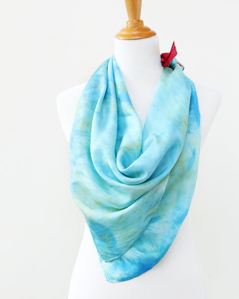 Last Chance Turquoise Silk Scarves - Red Corner