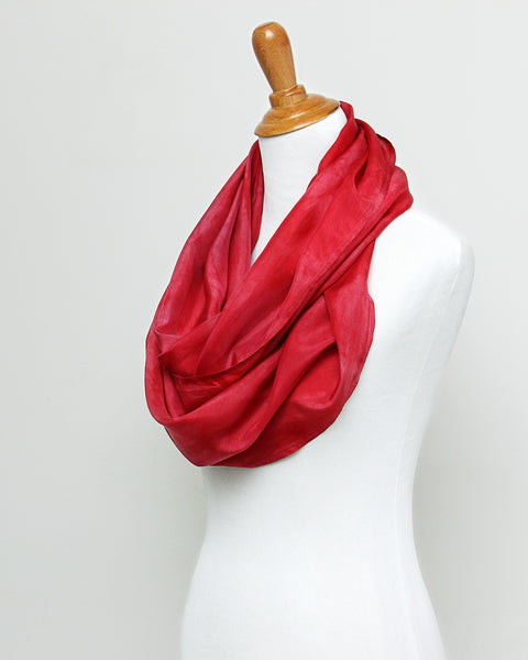 Berry Red Silk Scarf