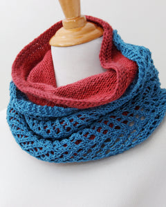Chevron  &  Fluff Cowl Set - Teal & Raspberry